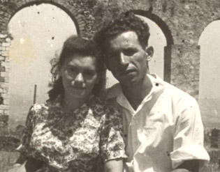Yisrael and Bella, near the Turkish aqueduct that passes through the Ghetto Fighters' Kibbutz.