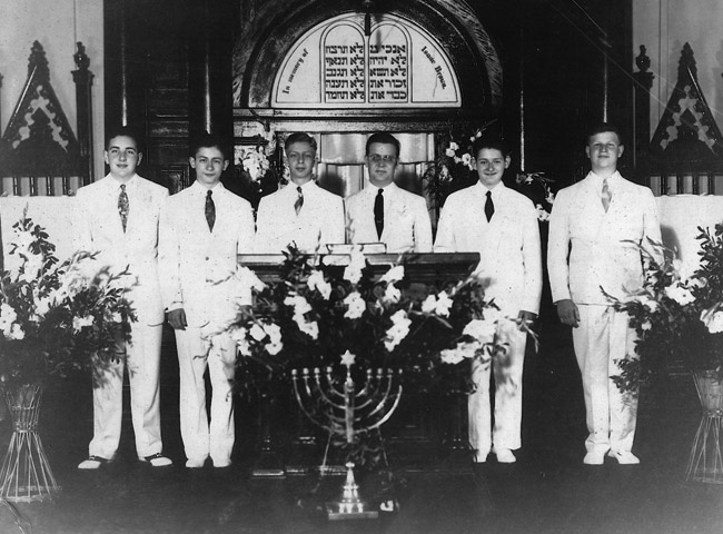 Albert (second from left) and Charles (second from right) with their confirmation class, 1942.