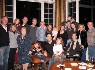 Moritz (Moshe) Goldfeier, center, with his children, grandchildren, and other family members.