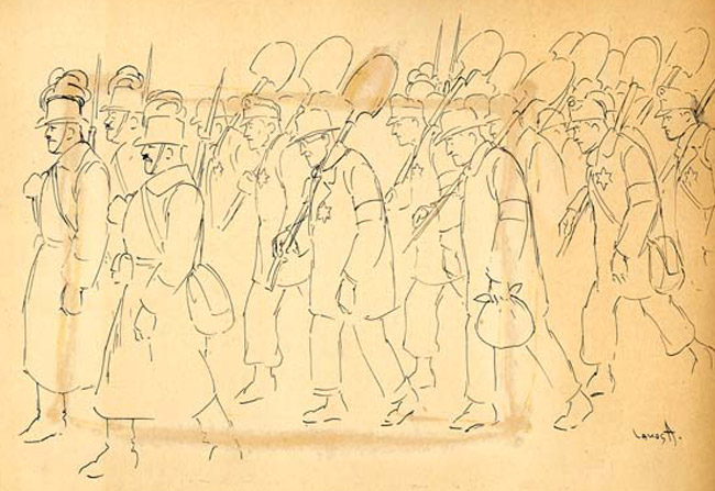 Drawing by A. Lakos of Jewish forced laborers marching with shovels.