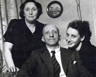 Inge and her parents after the war.
