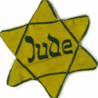 "Inge was forced to wear this yellow star on her clothing. ""Jude"" means ""Jew"" in German."