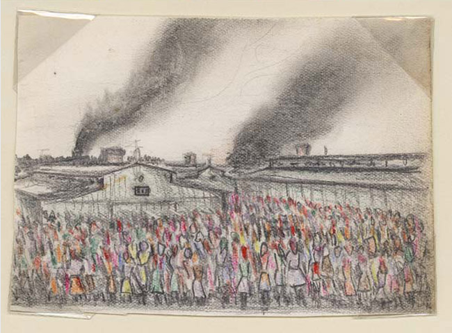 Drawing of Auschwitz by Alfred Kantor, 1944.