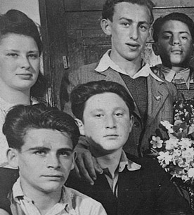 Pawel and other Holocaust survivors at the school in Germany, after the war.