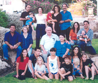 Aza Ronen Cohen (center) with her family in Israel.