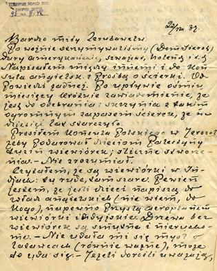 Letter from Janusz Korczak to his friends on the kibbutz, 1939.