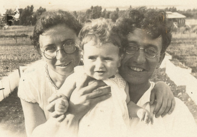 Aza and her parents in Ein Harod.