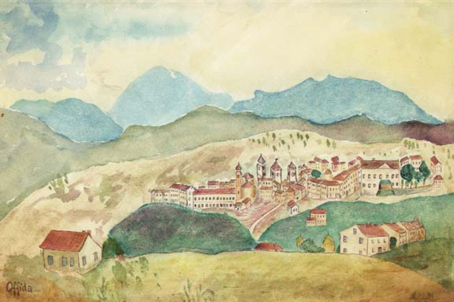 Drawing of Italian hill town, by Mavro Moster, 1943.