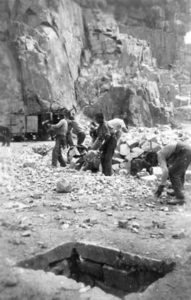 Slave laborers in a stone quarry at the concentration camp, Mauthausen, in Austria.