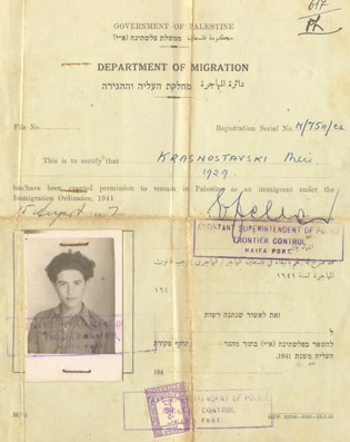 Meir's immigration papers.