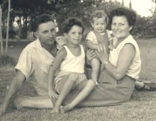 Marek, his wife Rivka, and their children, on the kibbutz.